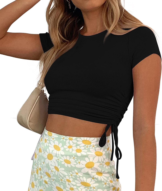 A.dasi Women's Summer Sexy Cute Sleeveless/Short Sleeve Drawstring Tops Crop Tops for Women Going Out Tops for Women