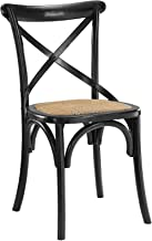 Modway Gear Rustic Farmhouse Elm Wood Rattan Kitchen and Dining Room Chair in Black - Fully Assembled