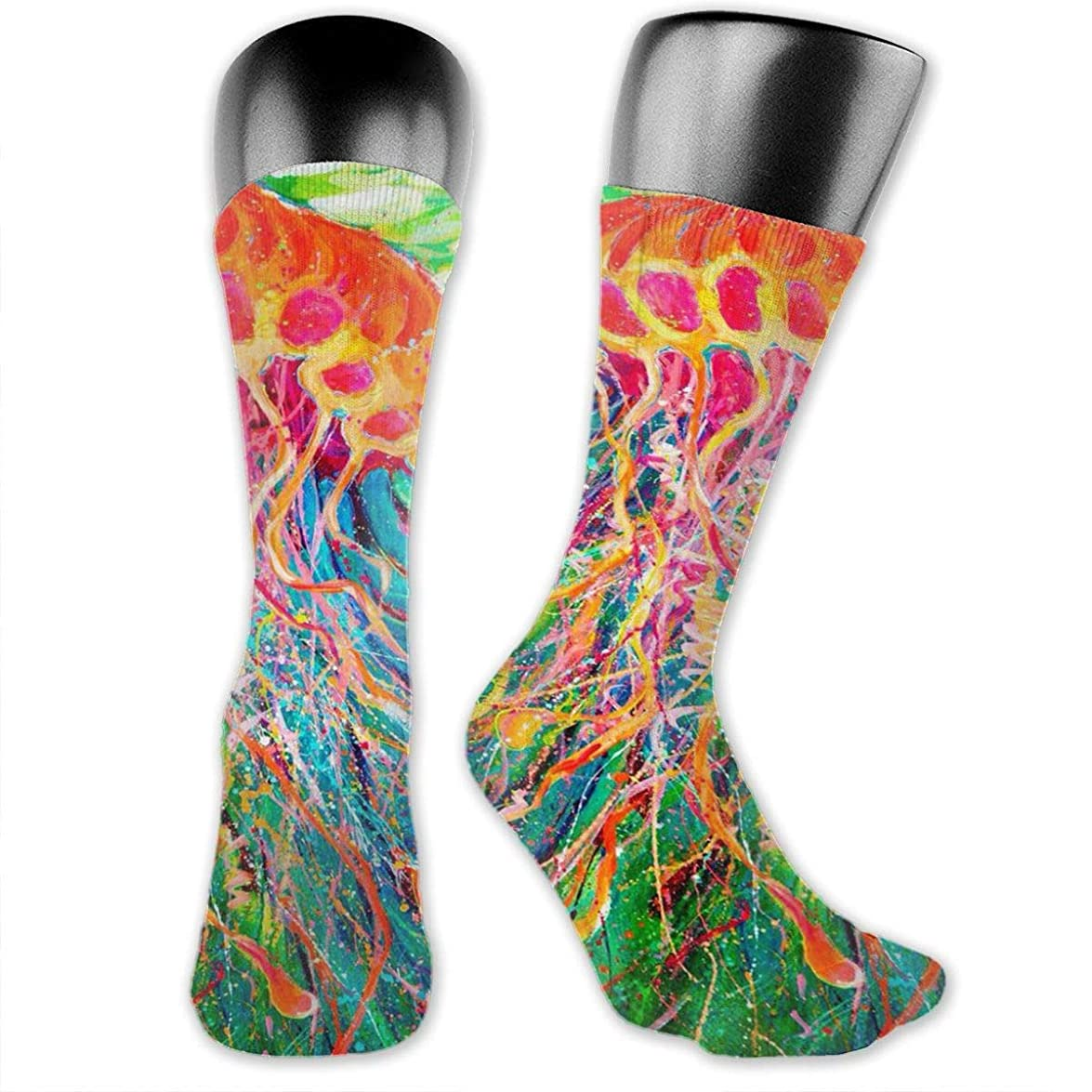 シード制限する感覚MKLOS 通気性 圧縮ソックス Breathable Extra Long Cotton Mid Thigh High Cannabis Weed Leaf Exotic Psychedelic Print Compression High Tube Thigh Boot Stockings Knee High Women Girl