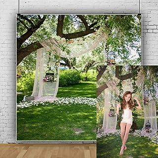 Leowefowa 2,5x2,5m Vinilo Boda Telon de Fondo Al Aire Libre Arco de la Boda romántica Decoración Elegante Luz del Sol Fond...