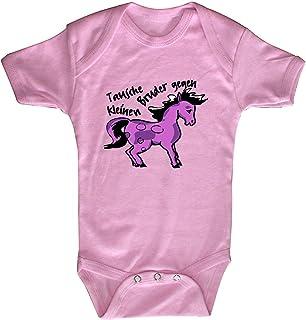 Fan-O-Menal Textilien Strampler mit Spruch Tausche Bruder gegen Pony 08377 rosa Gr. 0-24 Monate