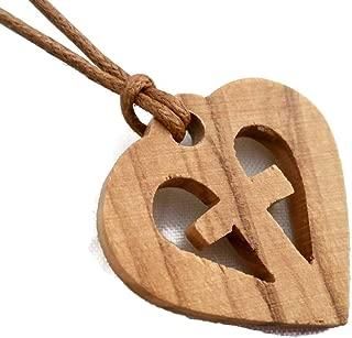 Olive Wood Pendant - Heart in Cross Christian Design HJW