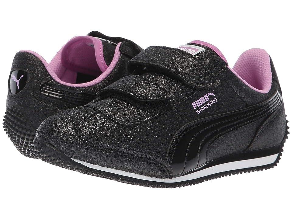 Puma Kids Whirlwind Glitz V (Little Kid/Big Kid) (Puma Black/Orchid) Girls Shoes