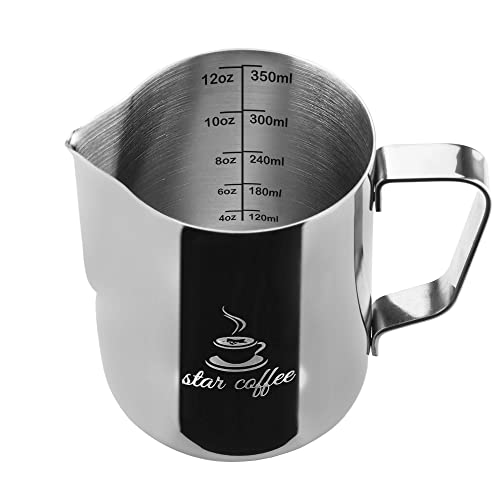 Star Coffee 12, 20 or 30oz Stainless Steel Milk Frothing Pitcher - Measurements on Both
