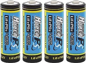 (4-Pack) HyperPS 3.2V LiFePo4 14430 (14 x 43mm) 400mAh Rechargeable Battery for Solar Panel Light, Tooth Brush, Shaver, Flashlight