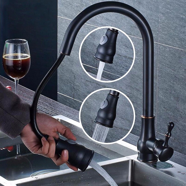 MMYNL Küchenarmatur Armatur Küche Wasserhahn Schwarz Antik Ziehen Sie Kalt Hei Alle Kupfer Becken Teleskop schwenkbarer Auslauf Spültischarmatur