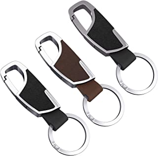 3 Pack Leather Keychain for Men and Women Heavy Duty Car Key Rings Stainless Steel Key Chain Holder