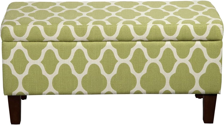 Kinfine K6384NP-F2053 Decorative Storage Bench, Green Geo, 36  x 16  x 18