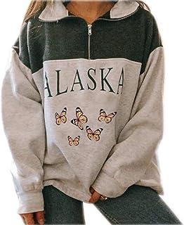 Sudadera para Mujer Alaska Letra Impresión Suelta Casual Manga Larga Hip Hop Alto Cuello Redondo Cremallera Águila Gráfico...