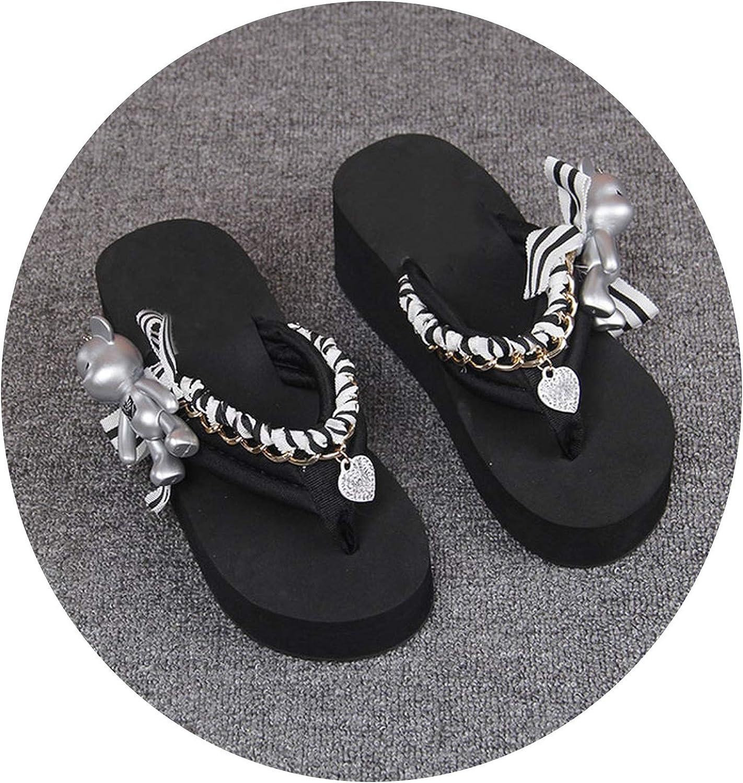 Charismatic-Vibrators Summer Cute Bear Korean Style Students Thick Soled Slippers Women Beach Platform Sandals