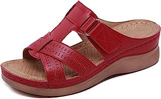 Peep Toe Sandals Ladies Mid Wedge Heel Slip On Mules Womens Lightweight Soft Comfy Summer Sandal