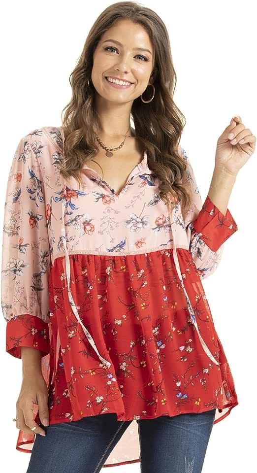 SONJA BETRO Women's Floral Printed Notch Neck 3/4 Balloon Sleeve Babydoll Tunic Top Blouse Plus Size