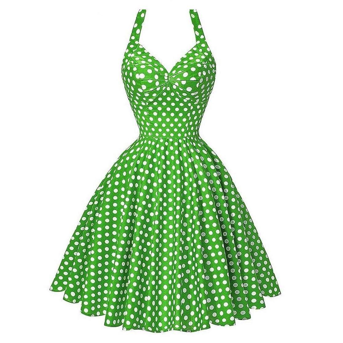 iLUGU Halter Collar Sleeveless Knee-Length Dress For Women Dot Print Waist A-Line Summer Dresses For Women uynmhxda5