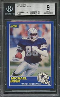 1989 score #18 MICHAEL IRVIN dallas cowboys rookie card BGS 9 (9.5 8.5 9 9.5) Graded Card