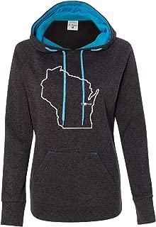 Womens Wisconsin Home Apparel (W, M, Onyx) - WI Hooded Sweatshirt by Hometown Hoodies
