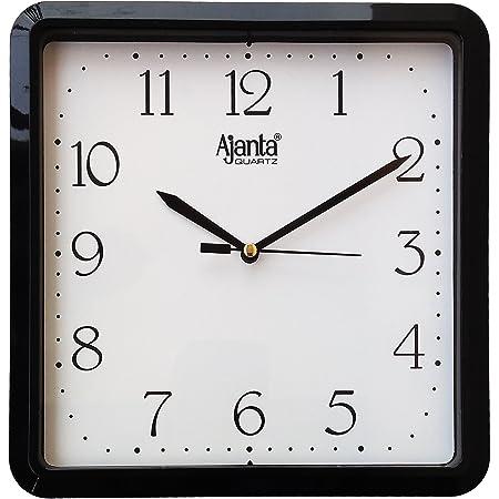 Ajanta Plastic Wall Clock (21.6 cm x 21.6 cm x 3.2 cm, Black)