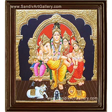 Sandiv Art Gallery Lord Shiva Family Tanjore Painting – 22 Carat Gold Foil Sivan Family Tanjore Painting – Shiva Family Photo Frame on Wall – Painting Gift – Hindu Religious Goddess Photo Framed Worship – Tanjore Paintings for Pooja, Living Room, Bedroom (12x10 Inch)