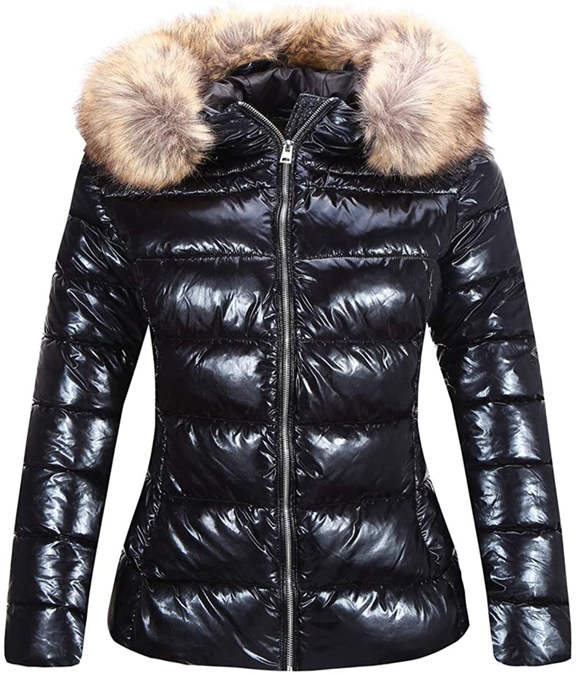 Bellivera Women's Lightweight Puffer Jacket Warm Coat Hooded with Fur Collar