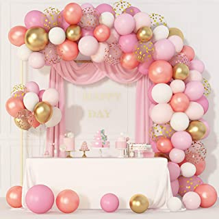 144 Pcs Rose Gold Pink Balloons Garland Arch Kit 12''10''5'' Light Pink Gold White Confetti Latex Metallic Balloons for Birthday Baby Shower Wedding Party Decorations Supplies with 4 Pcs Balloon Tools