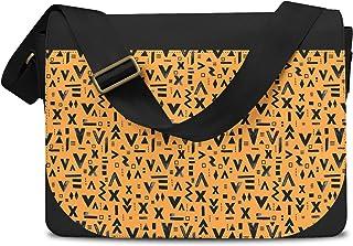 Inked Geometric Symbols Orange - One Size Messenger Bag - Messenger Bag