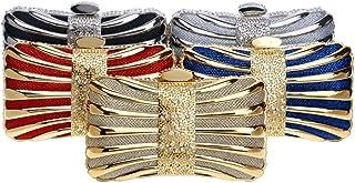 Dinner Metal Rhinestone Luxury Dinner Bag Europe And America Ladies Evening Banquet Bag Dress Hand, Slung, One Shoulder, Hand Bag 17.5 * 10.5 * 5.5cm Grace (Color : Gold)