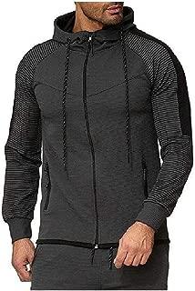 Mogogo Mens Athletic Fit Zip-Front Hooded Contrast Hooded Sweatshirt