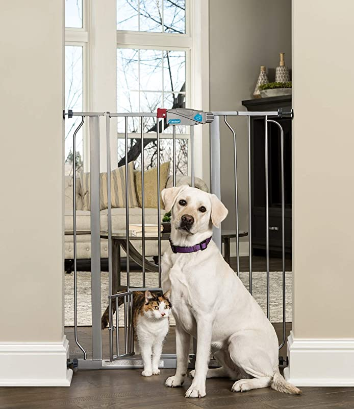Carlson Extra Tall Walk Through Pet Gate With Small Pet Door Includes 4 Inch Extension Kit 4 Pack Pressure Mount Kit And 4 Pack Wall Mount Kit Platinum