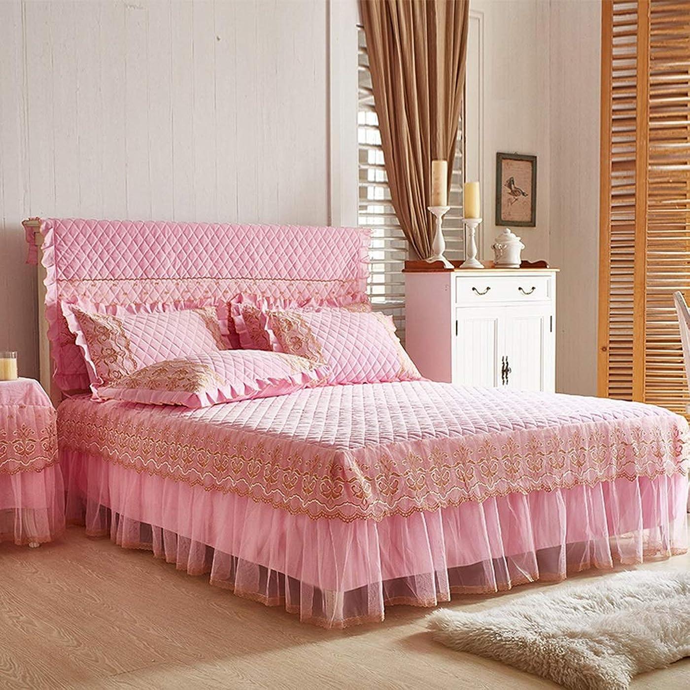 折り目世辞ライバル高級コットンスエードベッドスカートスーツ機洗える寝具プリーツベッドカバー弾性バンド固定滑り止め保護ケース - ほこり (色 : C pink, サイズ さいず : 180cmx200cm+pillowcases)