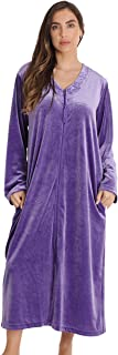 Just Love Stretch Velour Embroidered Zipper Lounger Robe for Women with Pockets