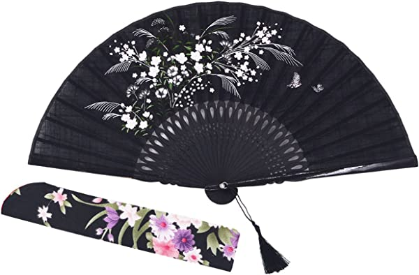 Amajiji 8 27 Beautiful Hand Crafted Chinese Japanese Hand Held Folding Fan With First Class Bamboo Spins And Traditonal Silk Fabrics HBSY 004