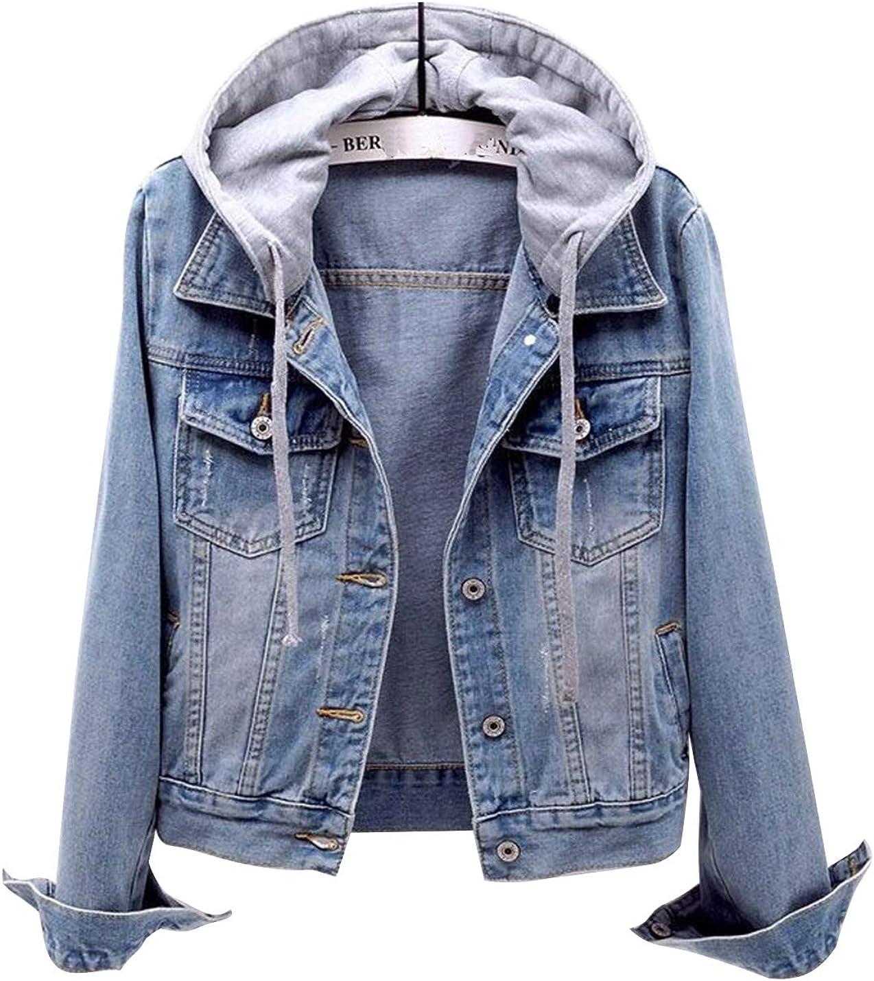 Uaneo Womens Casual Denim Detachable Hoodie Long Sleeve Jean Jacket Coat(Blue-L)