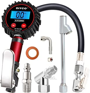 DIYCO D3 Plus Digital Tire Inflator with Pressure Gauge | 150 PSI (0.1 Res) | Interchangeable Air Chuck | 7-PCS Compressor Accessory Kit | Professional & Home Garage | Elite Series