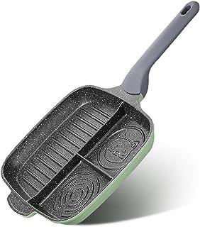 Zhicaikeji Poêle à frire anti-adhésive multifonction avec poignée chauffante pour la cuisson (vert, taille : 26 cm)