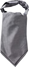 HISDERN Men's Plaid Houndstooth Jacquard Woven Self Cravat Tie Ascot
