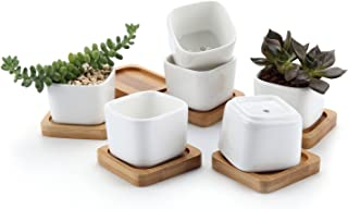 T4U 2 Inch Ceramic White Mini Square Succulent Plant Pot/Cactus Plant Pot with Free Bamboo Tray Package 1 Pack of 6