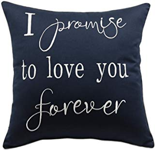 """YugTex Pillowcases I Promise to Love You Forever Embroidered Throw Pillow Cover,Valentine's Gift,Bridal Quote,Decorative Pillowcase,Wedding Anniversarygifts(18""""x18"""", Navy(I Promise))"""