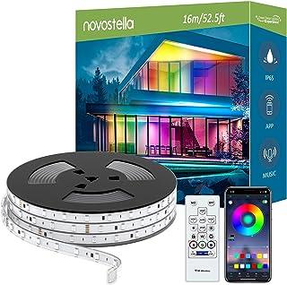 Novostella 16M Ruban à LED Extérieur Arc-en-ciel APP Contrôle, IP65 Étanche, Bande LED RGB Rainbow Couleur IC Intégré avec...