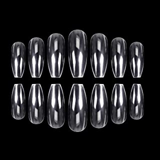 ECBASKET 500pcs Coffin Nails Clear Ballerina Nail Tips Acrylic Nails Full Cover False Artificial Nails 10 Sizes for Nail Salon or DIY Nail Art at Home