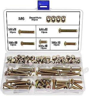 comprar comparacion 100 pz. M6 Tornillos de tuercas de barril, M6 x 40/50/60/70/70/80 mm, tornillos cilíndricos, kit de surtido de tuercas, pa...