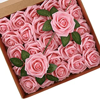 Higfra Artificial Flowers Pink Roses Real Looking Fake Roses w/Stem for DIY Wedding Bouquets Centerpieces Arrangements Party Baby Shower Home Decorations - Pink
