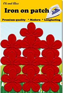 Iron On Patches - Red Flower Patch 10 pcs Iron On Patch Embroidered Applique A-13