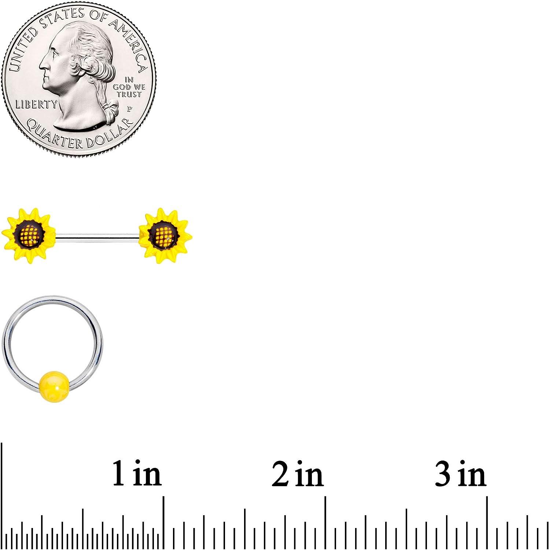 Body Candy Womens 4Pc 14G Nipplering Piercing Steel UV Ball Sunflower BCR Barbell Nipple Ring Set 9/16