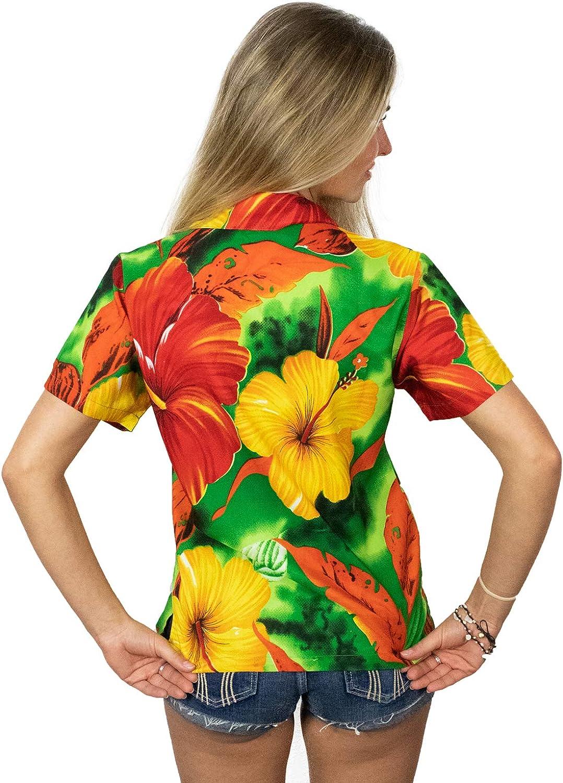 King Kameha Hawaiian Blouse Shirt for Women Funky Casual Button Down Very Loud Shortsleeve Big Flower