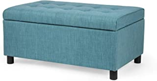 Joveco Storage Ottoman Fabric Button Tufted Rectangular Teal Footrest Bench Toy Chests & Storage Room Organizer (CadetBlue)