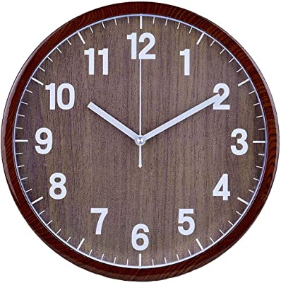 SEEYA 12 Inch Retro Wooden Wall Clock, Silent Non Ticking Large Vintage Rustic Country Style