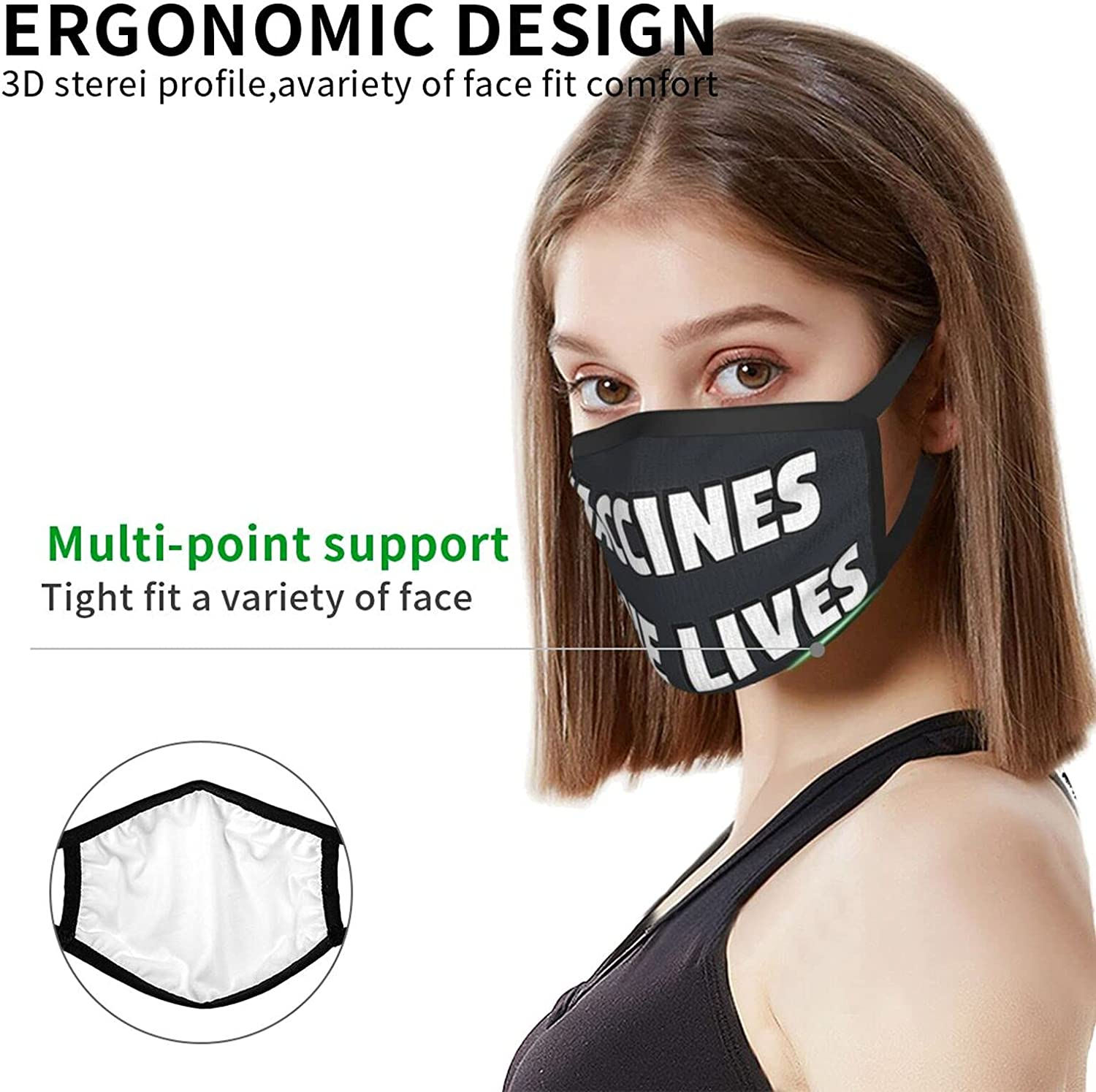Unisex Adults Face Mask I'm Been Vaccinated Washable Face Mouth Cover Balaclavas for Men Women