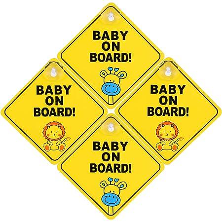 Popuppe 4 Stcke Baby On Board Aufkleber Autoaufkleber Mit Saugnapf Kind Auto Aufkleber Baby An Bord Schild Fr Auto Wasserdicht Hitzebestndig Zwei Tiermuster Gelb Baby
