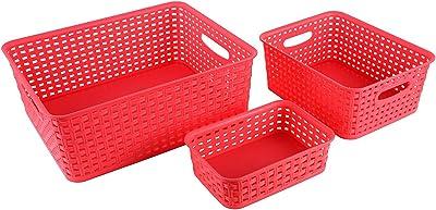 Regalo Plastic Storage Baskets(Multicolour) Set of 3