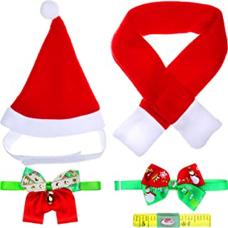 Jovitec 5 Pieces Christmas Pet Costume Accessory Set, Include Santa Hat, Scarf, Christmas Bow Tie Collar, Ribbon Bow Tie Collar with Bell and Ruler Tape for Pet Christmas Outfit (S Size)