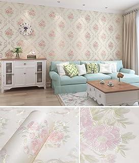 en relief Pivoine Floral Contact papier autocollant de papier peint intissé pour chambre à coucher Salon de salle de bain Home Wall Art Crafts Deco (Rose et Blanc, 20.83par 297,2cm)
